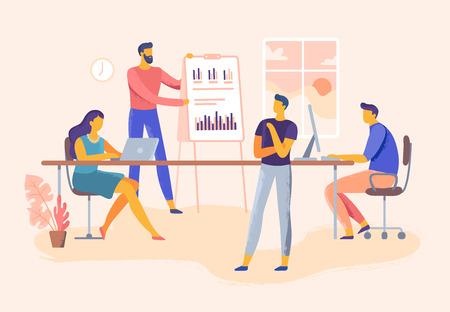 Geschäftstreffen. Präsentation der Teamfähigkeiten im Büro, Unternehmensführung und Planung der Teamarbeit. Executive-Training oder IT-Meeting-Konferenz. Business-Industrie-Vektor-Illustration Vektorgrafik