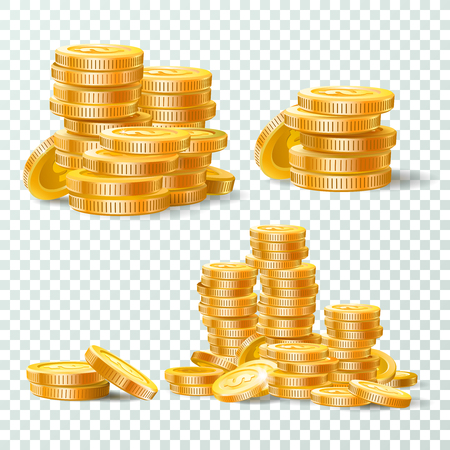 Stack of gold coins. Golden coin pile, money stacks and golds piles. Casino jackpot cash, gold currency or money earning. Business isolated vector icons set Illustration