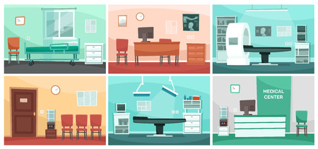 Cartoon hospital room. Medical interiors, doctor office and surgery clinic or hospitals empty waiting room interior. Patient hospitalization reception, clinical consultation rooms vector illustration