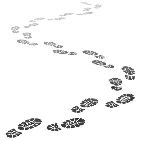 Si allontanano passi. Sagoma di impronta in uscita, impronte di passi e passi di scarpe che vanno in prospettiva. Illustrazione vettoriale di impronte del battistrada della scarpa da corsa