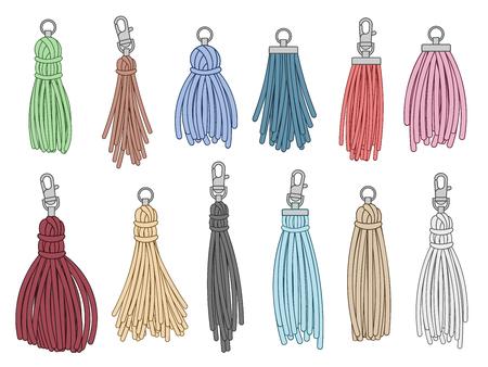 Tassels accessories. Leather fringe tassel trinket, handbag embelishments and fashion key chain. Leather tessels, textile zippers. Isolated vector illustration symbols set