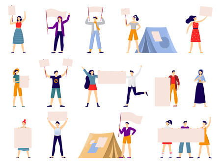 Protesters people. Peaceful protest march, activist holding banner or placard and protesting activists. Political activists manifestation. Flat vector isolated icons illustration set