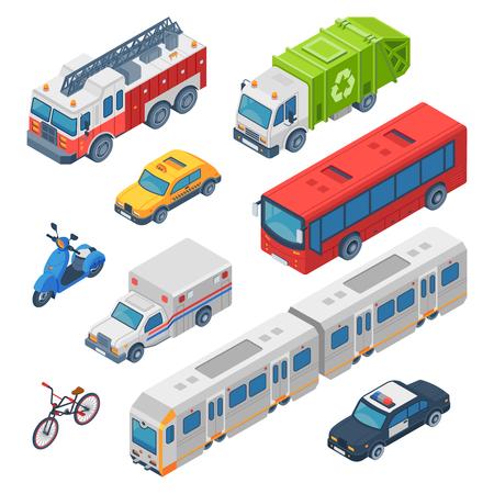 Trasporto urbano isometrico. Ambulanza, auto della polizia e camion dei pompieri. Treno della metropolitana, taxi cittadino e autobus pubblici. Traffico auto, moto e bicicletta. Set di icone isolate di vettore 3d di trasporto
