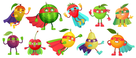 Superhero fruit. Super apple, berry and orange in hero cloak costume. Garden superheroes healthy food. Fruit hero characters, fresh fruits cartoon vector illustration isolated icons set