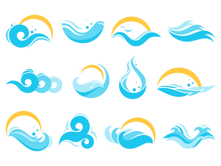 Sea water icons. Ocean waves, agua splash and blue river wave. Lake waters, flowing surface. Gale foam, stormy sea tide or surfing swirls . Isolated vector icon illustration set
