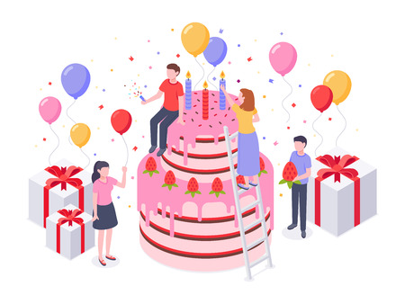 Isometric birthday cake. Party confetti, cakes present and birthdays surprise baking gift. Birthday celebrating bakery cake banquet, corporate congratulations festival vector illustration Stock Illustratie