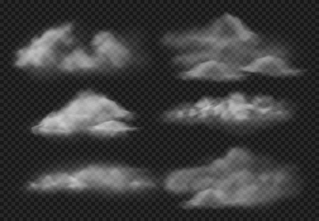 Realistic fog. Steam fogs clouds, smoke cloud and water vapor mist. Smoky air, fog shape of sky motion. 3d vector illustration isolated icons set