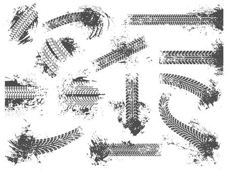 Schmutzige Reifenspuren. Grunge-Rennstrecke, Radreifenschutzmuster und Schmutzräder prägen die Textur. Schlammspuren, schmutzige Spuren von Autorennen. Isolierte Zeichensatz der Vektorillustration