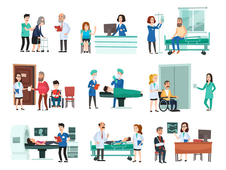 Hospital patients. Hospitalized patient on hospitals bed, nurse and doctor helping sick people. Medical operation or bedding hospital room. Isolated cartoon vector illustration symbols set