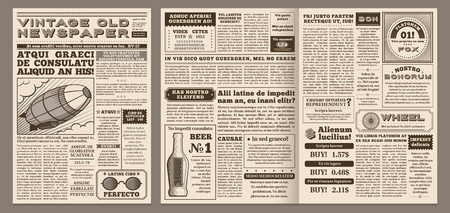 Vintage newspaper template. Retro newspapers page, old news headline and journal pages grid. Antique newsprint poster, newspaper brochure template vector illustration layout
