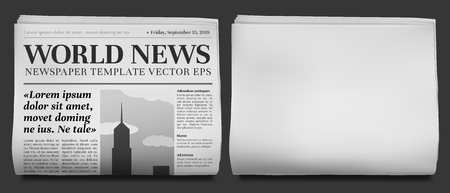Newspaper headline mockup. Business news tabloid folded in half, financial newspapers title page and daily journal. Newsprint brochure, print magazine column retro vector illustration