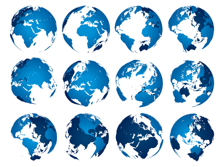 Blue earth globe. Globes sphere silhouette, europe asia and america maps. Earth map globe, world continents or geography atlas isolated 3D vector symbols set Stock Illustratie