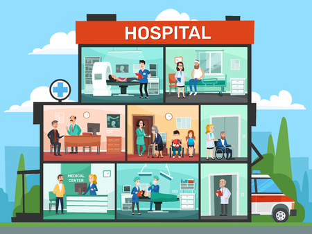 Medical office rooms. Hospital building interior, emergency clinic doctor waiting room and surgery doctors. Pharmacy consulting office or hospitalization clinic cartoon vector illustration