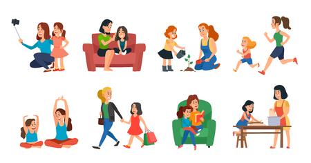 Concetto di maternità. Madre e figlia aiutano la famiglia, giocano o si abbracciano. Festa della mamma, genitore con bambini che parlano di lettura e corsa di piante. Insieme dell'illustrazione delle icone isolato vettore del fumetto