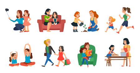 Motherhood concept. Mother and daughter family help, playing or hugging. Mothers day, parent with children talking plant reading and running. Cartoon vector isolated icons illustration set