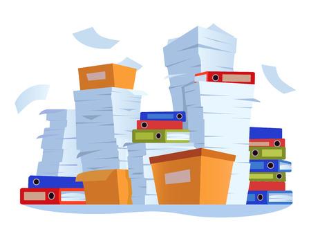 Unorganisierter Papierkram. Stapel von Papierdokumenten, Unordnung der Büroarbeitsdokumentation und Arbeitsdokumentdateien stapeln Cartoon-Illustrationen Vektorgrafik