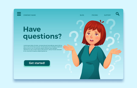 Woman have questions. Questioning female person, confused and thinking question. FAQ landing page, think businesswoman person confused solution expression cartoon vector illustration