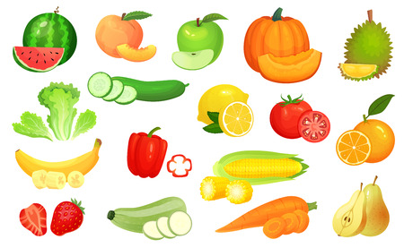 Sliced foods. Chopped vegetables and sliced fruit. Chop vegetable, fruits and berries slice. Raw summer fresh food, organic vegan diet product. Cartoon vector illustration isolated icons set