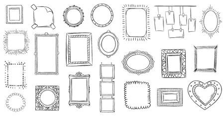 Doodle frames. Hand drawn frame, square borders sketched doodles and picture frame drawing sketch. Ornate interiors grunge photo frames. Isolated vector illustration symbols set
