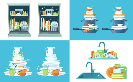 Dirty kitchen dish. Clean empty dishes, plates in dishwasher and dinnerware in sink. Washing up dish, dirty and clean restaurant plate or household kitchenware cartoon vector illustration set Stock Illustratie