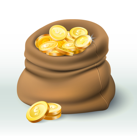 Gold coins bag. Golden coin wealth, big cash sack and money bonus. Treasure chest, gold currency coins game element. 3D realistic vector illustration