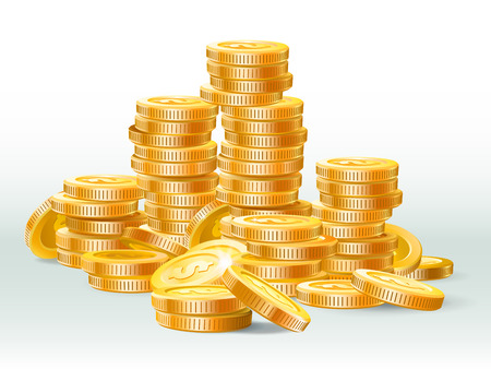 Golden coins pile. Gold coin dollar, money stack and gold cash heap. Jackpot coins, antique treasure or banking deposit. Money earnings 3D realistic vector illustration