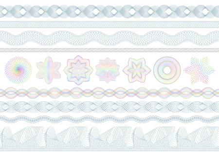 Guilloche patterns. Bank money security, banknotes seamless engraving and banking secure border. Banknote protective, protection engraved. Passport or diploma guilloche pattern vector set