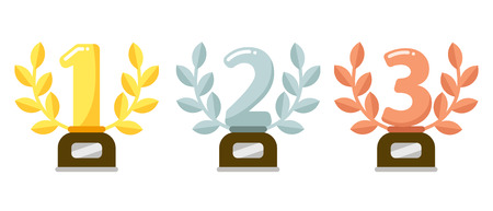 Prize trophies. Golden first place cup award, silver laurel wreath and awards bronze trophies. Trophy cups, winners awarding prize or sport rewards flat vector illustration