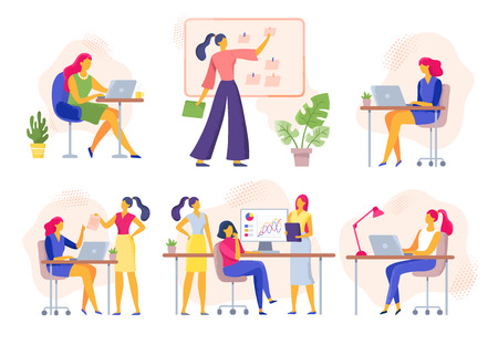 Female office workers. Business woman holds meeting, women team work together and businesswoman with laptop. Working female, executive woman employee vector illustration isolated icons set