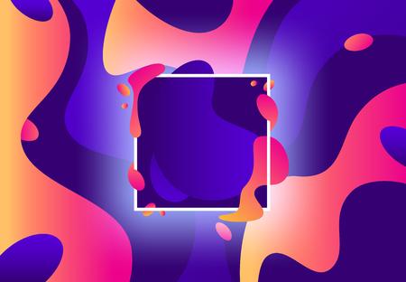 Fluid frame. Abstract colorful violet and modern purple liquid shapes. Memphis fluid composition, square shape splash gradient or geometric flux holographic 80s vector background Stock Illustratie