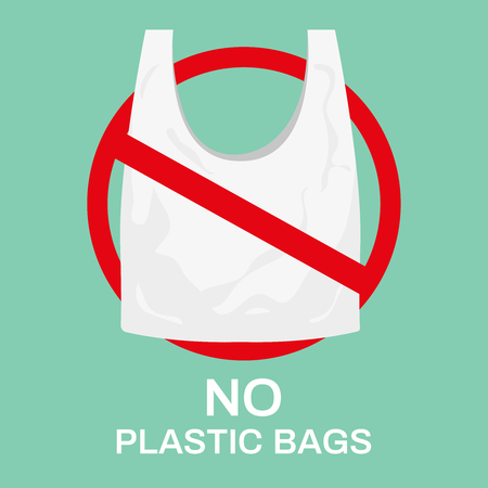 No plastic bags. Eco shopping bag, market recycle bags and stop using plastics. Forbidden plastic, ecology friendly bags. Environment save ideas vector illustration Stock Illustratie