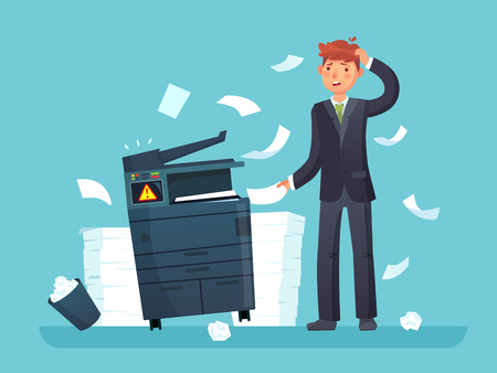 Printer broken. Confused business worker broke copier, office copy machine and lot of paper documents. Broken error equipment and unhappy man cartoon vector illustration Stock Illustratie