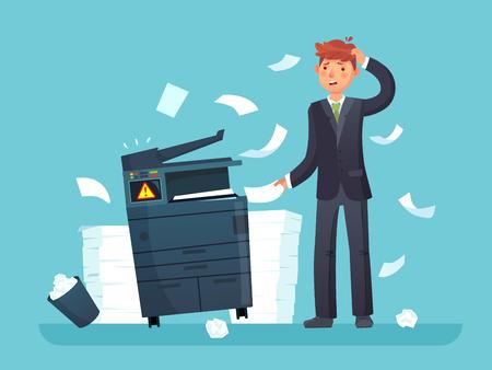 Printer kapot. Verwarde bedrijfsmedewerker brak kopieerapparaat, kantoorkopieerapparaat en veel papieren documenten. Gebroken foutapparatuur en ongelukkige man cartoon vectorillustratie Vector Illustratie
