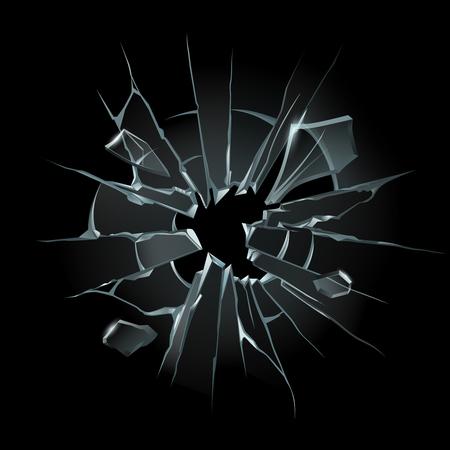 Broken window glass. Broken windshield, shattered glass or crack windows. Ilustrace