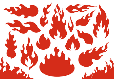Blazing fire flames. Flaming red wildfire fiery or racing flame. Blazing hell inferno fire. Comic evil flaming, burn bonfire or fireball flames . Isolated icons illustration set Ilustração