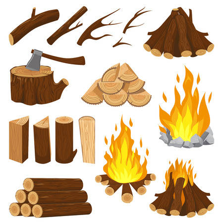 Firewood boards. Fireplace fire wood, burning wooden stack and blazing bonfire. Campfire logging pile, wood trunks or tree logs. Woodcutter log cartoon vector isolated icons illustration set Foto de archivo - 124611643