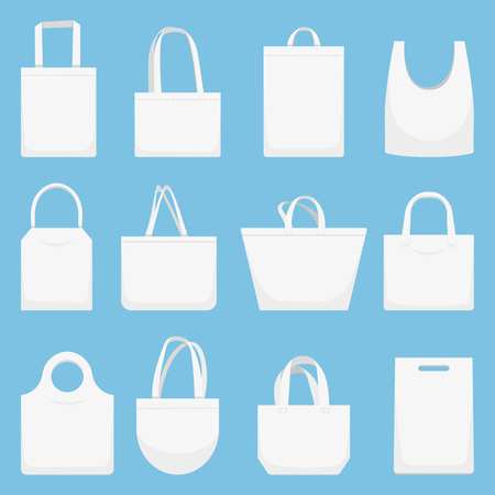 Fabric bag. Eco canvas bags, white shopping bagful and beach cloth handbag. Ecological textile material shopper bags. Vector illustration isolated icons set