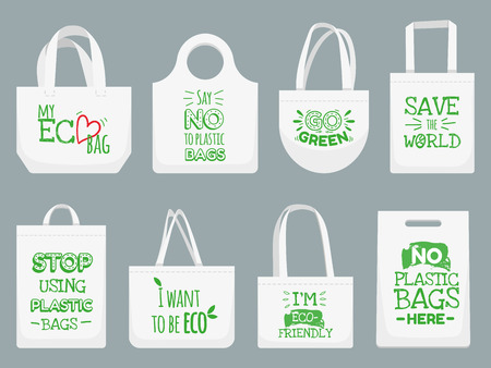 Eco fabric bag. Say no to plastic bags, polythene refuse ban slogan and textile shopping handbag. Shopper, ecological fabric package. Vector isolated illustration icons set Stock Vector - 118727706