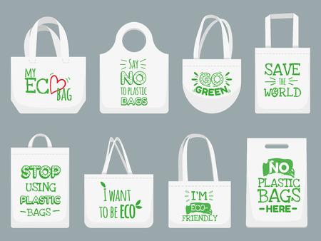 Tasche aus Öko-Stoff. Sag nein zu Plastiktüten, Plastiktüten, Plastiktüten. Shopper, ökologisches Stoffpaket. Vektor lokalisierte Illustrationsikonen eingestellt Vektorgrafik
