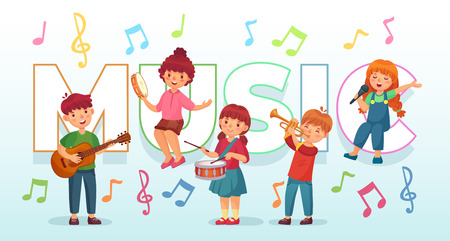Kids playing music. Children musical instruments, baby band musicians and dancing kid singing or playing guitar. Young character play jazz music and sing cartoon vector illustration Stock Illustratie