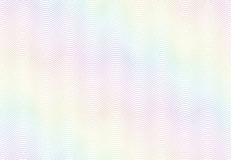 Guilloche watermerk textuur. Getextureerd paspoortpapier, bankbiljet beveiligd regenboogpatroon en kleurlijngolven. Monochroom geld valuta watermerk of diploma certificaat vector naadloze achtergrond