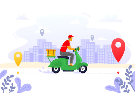 Food delivery. Express courier supply, carrier on freight scooter and parcel box route. Fast food delivery service, motorbike driver courier or gps pizza deliveries vector illustration Stock Illustratie