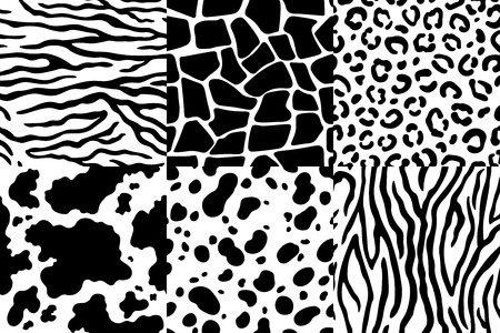 Animal skin pattern. Wildlife zebra texture, tiger skin stripes and leopard spots. Animals textures seamless patterns, exotic clothes printing or wallpaper texture vector set