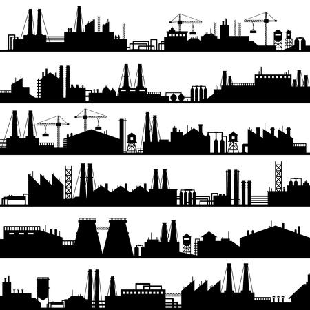Fabrikbau-Silhouette. Industrielle Fabriken, Raffineriepanorama und Herstellungsgebäudeskyline. Vektorillustrationssatz der verarbeitenden Industrie, der Ölfabrik oder der Umweltraffinerien Vektorgrafik