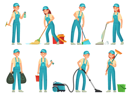Cleaning workers. Professional cleaning staff, domestic cleaner worker and cleaners equipment. Home clean, housework service or housekeeping workers and janitor. Cartoon vector isolated icons set