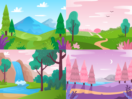 Flat landscape. Summer field nature, forest fauna and waterfall landscapes. Mountains and cloudy sky, forest panorama or beautiful countryside view vector background illustration Stock Illustratie