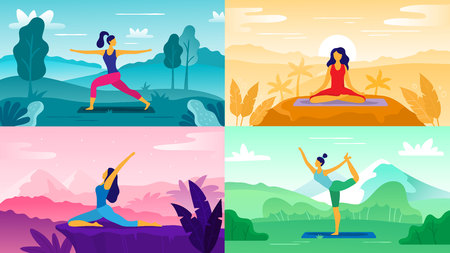 Yoga exercise on nature. Relax outdoors exercises, healthcare fitness and healthy lifestyle. Yoga poses, meditation aerobics positions or exercise therapy flat vector illustration set