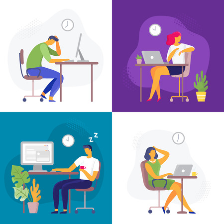 Working late. Overtime work, busy workaholic worker and employees with office laptops. Deadline, graphic designer professionals lifestyle or stressed employee flat vector illustration set Stock Illustratie