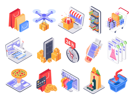 Isometric shopping. Online shop, market delivery and store sales. Internet purchasing and grocery products. Daily retail discount online app shopping. 3d vector illustration isolated icons set