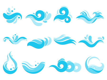Sea water splash. Spa pool waves, ocean surf tide and waters swirls. River flowing wave, stormy foam surf water or windsurf swirls gale tide. Isolated vector icons illustration set
